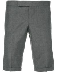 Thom Browne Engineered Striped Side Seam Solid Wool Twill Skinny Shorts - Grijs
