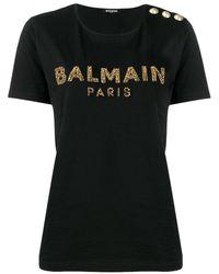 Balmain エンブロイダリー Tシャツ - ブラック