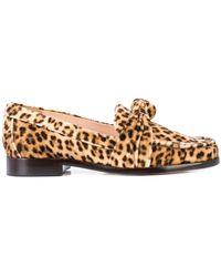 Loeffler Randall Mocasines Elina con motivo de leopardo - Marrón