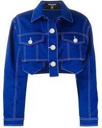 Balmain Укороченная Джинсовая Куртка - Синий