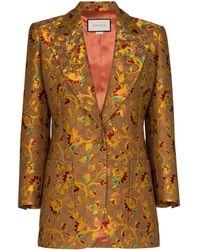 Gucci Блейзер С Цветочным Принтом И Узором GG Supreme - Коричневый