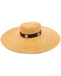 KATE CATE Wide-brim Straw Hat - Metallic