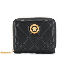 Versace Quilted Medusa Logo Wallet - Black