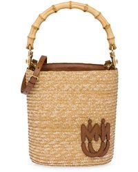 Miu Miu Straw Bucket Bag - Brown