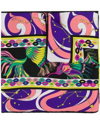 Emilio Pucci Sjaal Met Astrologie Print - Zwart