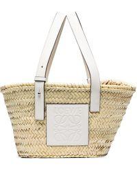 Loewe Neutral Raffia Basket Tote Bag - White