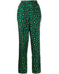 LaDoubleJ Leopard Print Trousers - Green