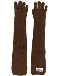 Ganni Handschuhe mit Logo-Patch - Braun
