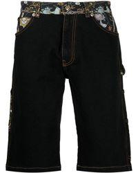 Versace Jeans Couture Джинсовые Шорты Со Вставками И Принтом - Черный