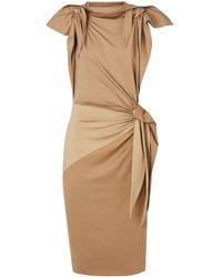 Burberry Silk-jersey Tie-detaildress - Brown