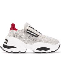 DSquared² Crystal-embellished Low-top Trainers - Grey