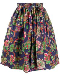 Givenchy Floral Print Puffed Skirt - Blue