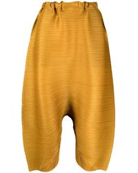 Pleats Please Issey Miyake Sarrouel-style Trousers - Yellow