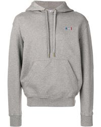 AMI Crew Neck Hoodie With Red Ami Blue White Red Embroidery - グレー