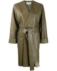 Loewe Пальто С Поясом - Зеленый