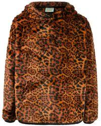 Aries Leopard Print Hoodie - Brown