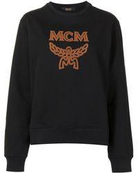 MCM Raised Logo Cotton Sweatshirt - Black