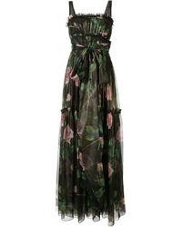 Dolce & Gabbana ローズプリント ドレス - ブラック
