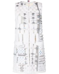 Thom Browne Short Sleeve Cardigan Coat In Long & Sheared Mink Fur Applique On Tulle - Grey