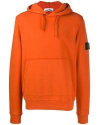 Stone Island Hoodie Met Logopatch - Oranje