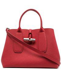 Longchamp Roseau ハンドバッグ M - レッド