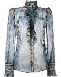 Roberto Cavalli プリントシアーシャツ - ブルー
