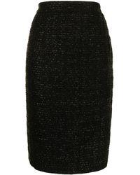 Dior メタリック ツイードスカート - ブラック