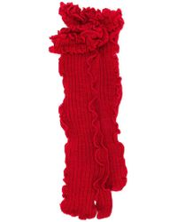 MM6 by Maison Martin Margiela Ruffled Knit Socks - Red