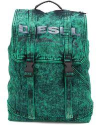 DIESEL Rucksack mit Acid-Wash-Effekt - Grün