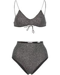 Oséree Bikini brillante con diseño triangular - Negro