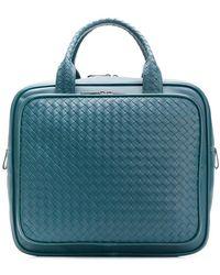 5d438b2b4b0e Bottega Veneta Dégradé Intrecciato Leather Briefcase in Blue for Men ...