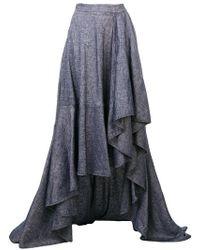 Talbot Runhof - Long Flared Asymmetric Skirt - Lyst