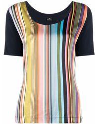 PS by Paul Smith Gestreiftes T-Shirt mit U-Ausschnitt - Blau