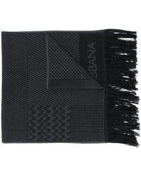 Dolce & Gabbana ロゴ フリンジ スカーフ - ブラック