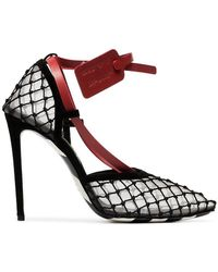 Off-White c/o Virgil Abloh - Leather Tag 110 Fishnet Pumps - Lyst