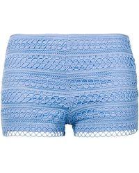 Charo Ruiz Embroidered Mini Shorts - Blue