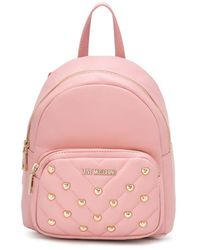Love Moschino Heart-studded Embellished Backpack - Pink