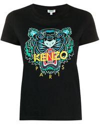 KENZO T-shirt Met Tijgerprint - Zwart