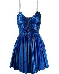 Saint Laurent メタリック プリーツドレス - ブルー