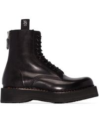 R13 Black Double Stack Lace-up Leather Boots