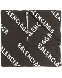 Balenciaga Logo Intarsia-knit Scarf - Green
