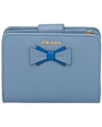 Prada Small Saffiano Leather Wallet With Bow - Blue