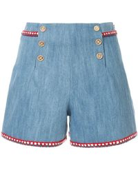 Edward Achour Paris High-waisted Denim Shorts - Blue