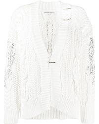 Ermanno Scervino Embellished Chunky-knit Cardigan - White