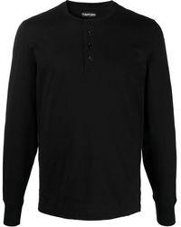Tom Ford ボタン ロングtシャツ - ブラック