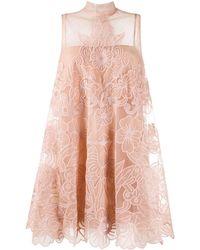 RED Valentino Платье Мини С Цветочной Вышивкой - Розовый