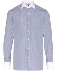 Tom Ford コントラストカラー シャツ - ブルー