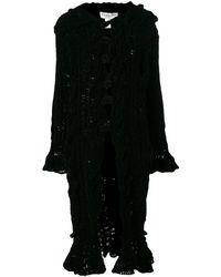 Dior Длинное Пальто 'chenille' - Черный