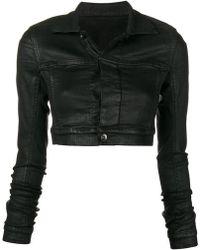 Rick Owens Drkshdw Waxed Cropped Jacket - Black