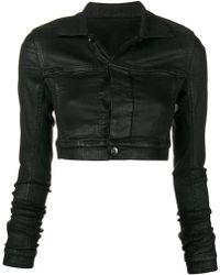 Rick Owens Drkshdw Waxed cropped jacket - Noir